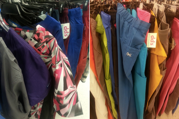 Scrubs on sale at the DD's Discount store in Eastmont Town Center