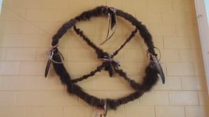 medicine wheel with buffalo hide at IFH