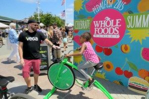 Stationary bikes helped whip up smoothies and give kids exercise.