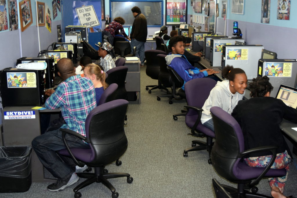 Students at the David E. Glover Education and Technology Center