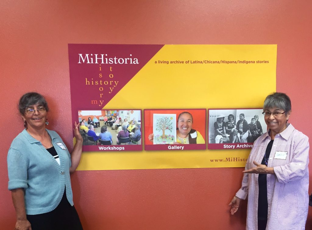 Albertina Zarazúa Padilla, curator for MiHistoria, and Marcy Delgadillo, a story coach for MiHistoria.