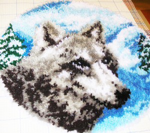 Pitman's Light Up and Howling Wolf Hooked Rug