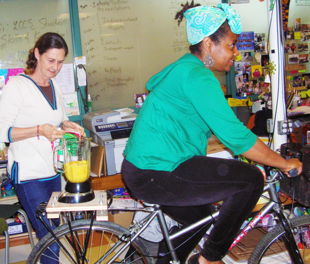Paula Mitchell demonstrates Nancy Fisher's Blender-Bicycle