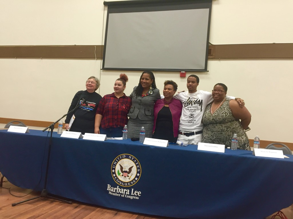 Panelists at the Town Hall meeting on gun violence hosted by Rep. Barbara Lee