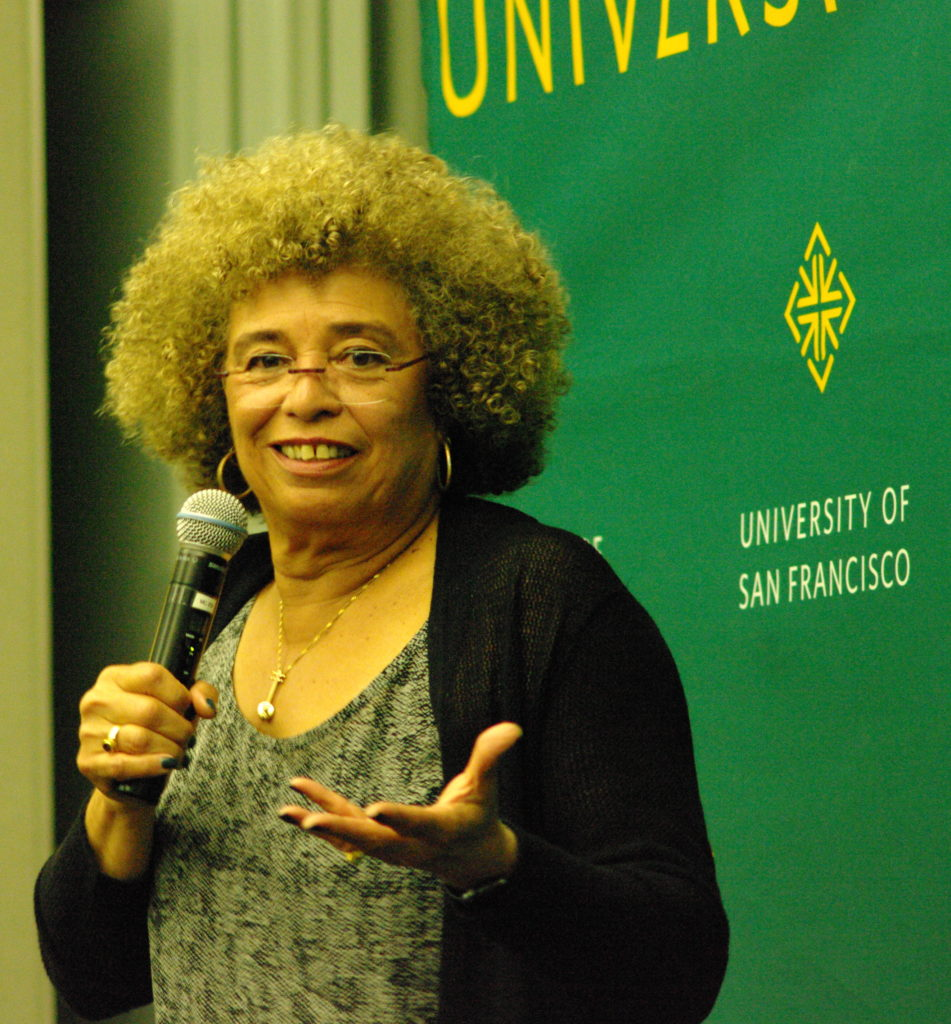 Angela Davis talks to students at the University of San Francisco