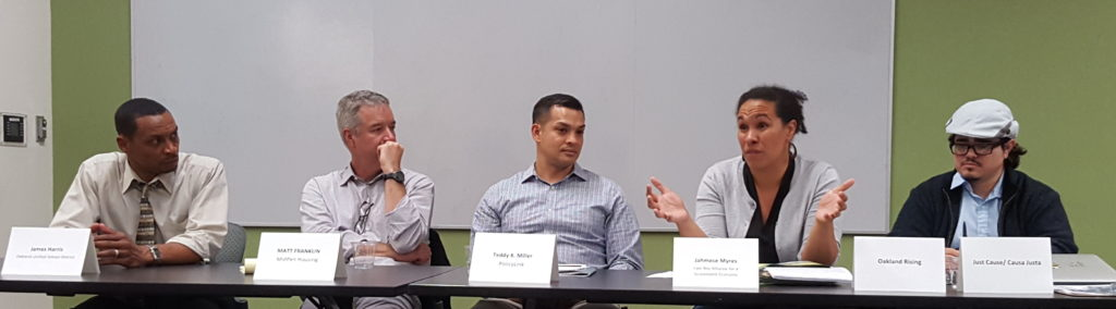 """Panelists at Oakland Voices' forum, """"Focus on Affordable Housing"""""""