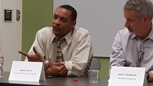 James Harris, president of the Oakland School Board, left and Matt Franklin, president of MidPen Housing