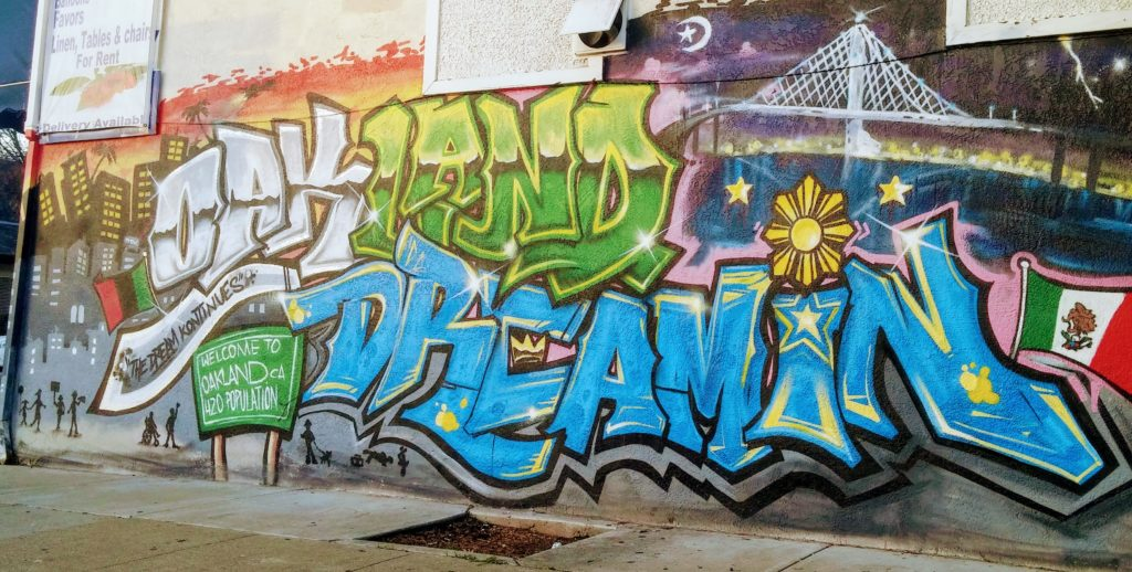 """Oakland Dreamin"" mural by TDK with support from Lucky Three Seven. Photo Credit: Kat Ferreira"