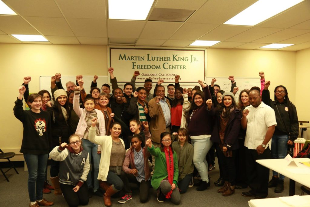 Student leaders with Bobby Seale, co-founder of the Black Panther Party.
