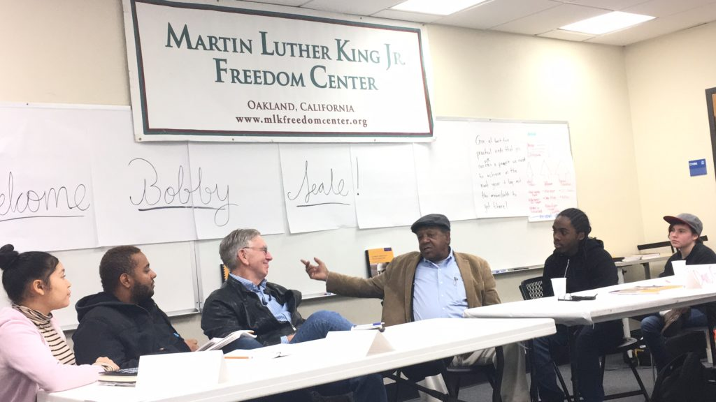 Bobby Seale, c-founder of the Black Panther Party, addresses youth leadership forum