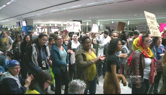 Protesters at SFO CBS source