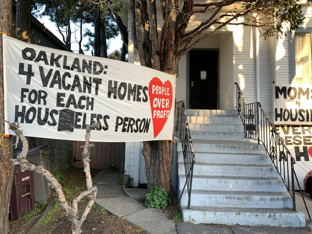 The group began occupying this house at 2928 Magnolia Street in West Oakland. The owner, Wedgewood Properties, agreed to sell the property and allow the Moms to stay after they were evicted.