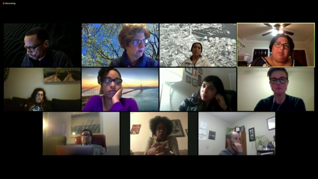 A diverse image with faces. They are in a Zoom or virtual web meeting to talk about the school district.