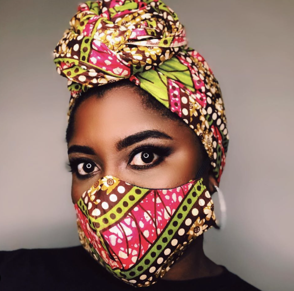 Photo: woman wearing face mask and headwrap made from the same patterned fabric