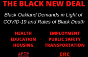 graphic with list of Black Oakland demands, including health, education, housing, employment, public safety, and transportation areas.