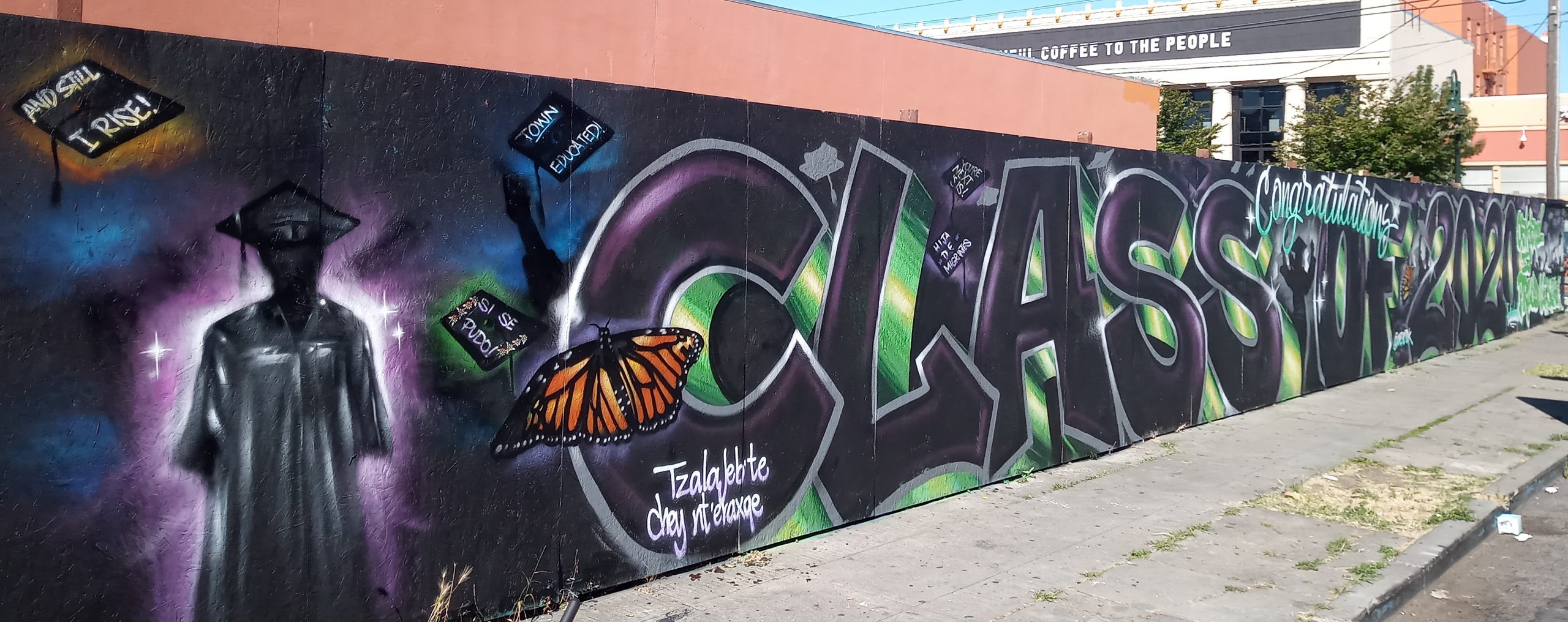 """A grafitti mural that says """"Class of 2020."""""""
