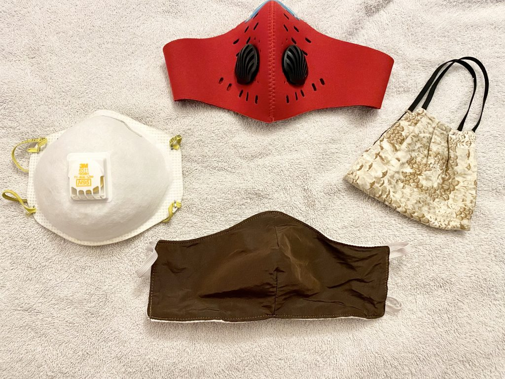 An image of several face masks laid out next to each other.
