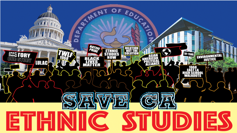 "A logo that says ""Save CA Ethnic Studies"""