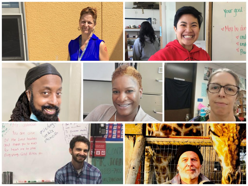 An image of a diverse group of seven teachers.