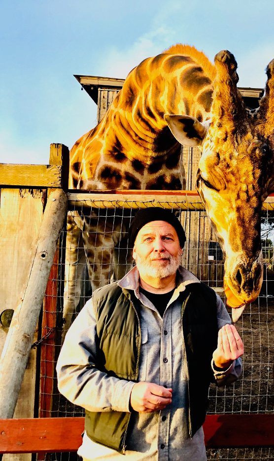 A man wearing a beanie stands next to a giraffe