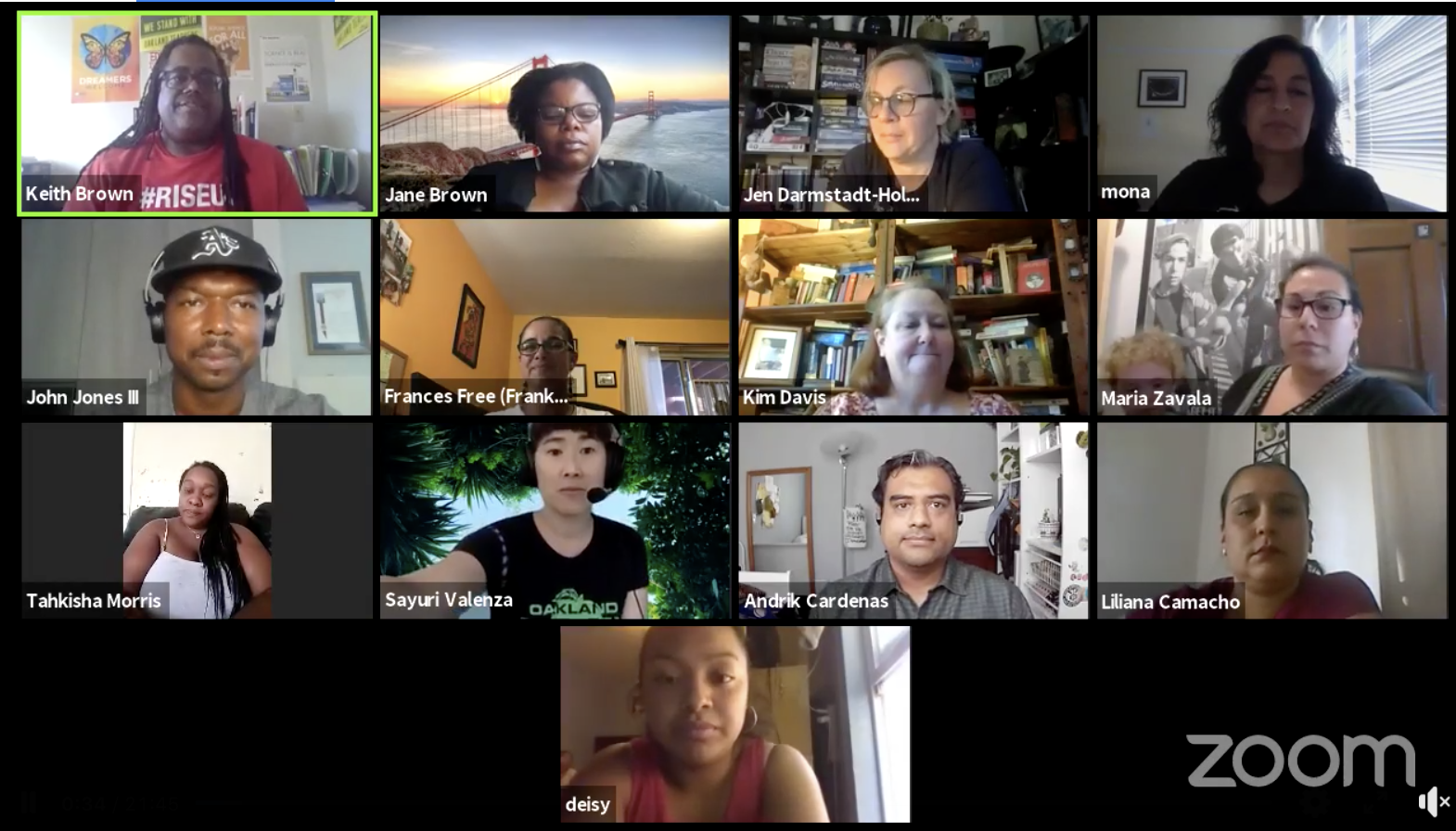 A screen shot of a dozen diverse educators speaking during a Zoom for the Oakland Education Association.