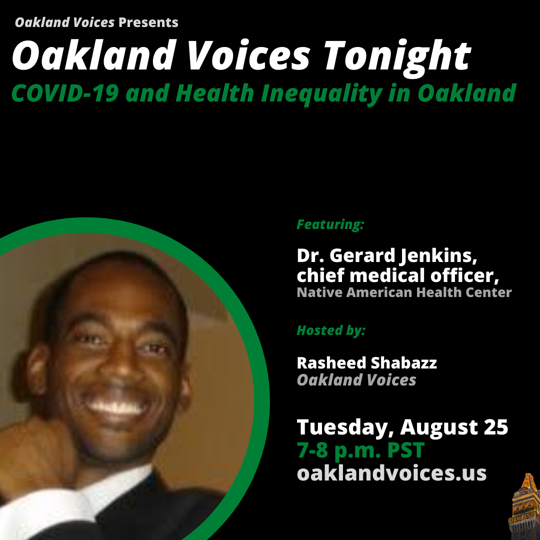 A flyer for Oakland Voices Tonight with Dr. Gerard Jenkins.