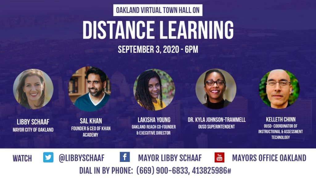 An image of a flyer with five faces promoting a distance learning town hall.