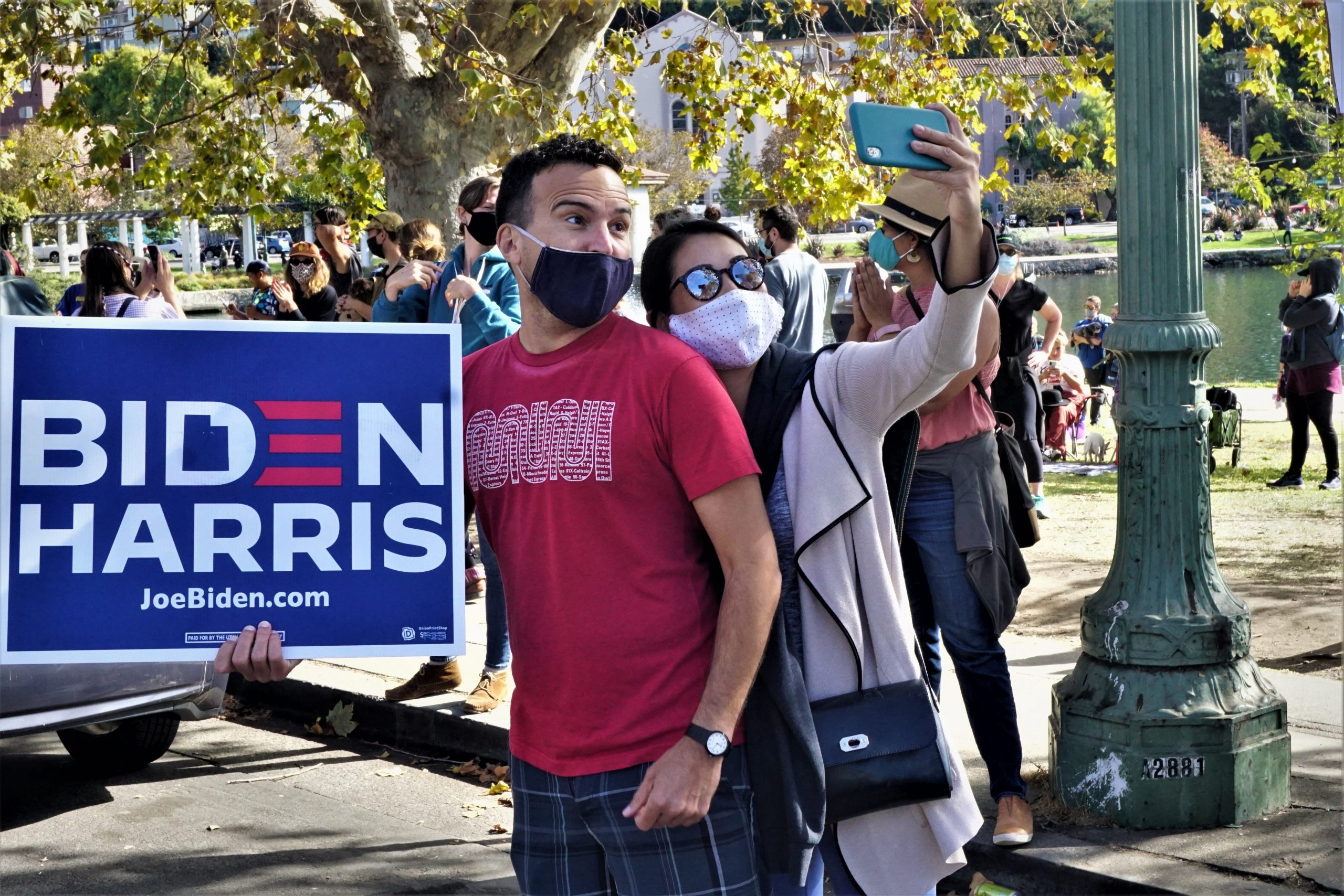 Oaklanders celebrate the the Biden / Harris win on Saturday, November 7th, 2020.