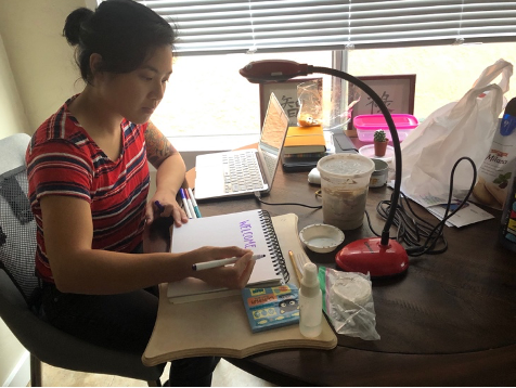 An Asian American woman sits at a desk teaching from a computer.