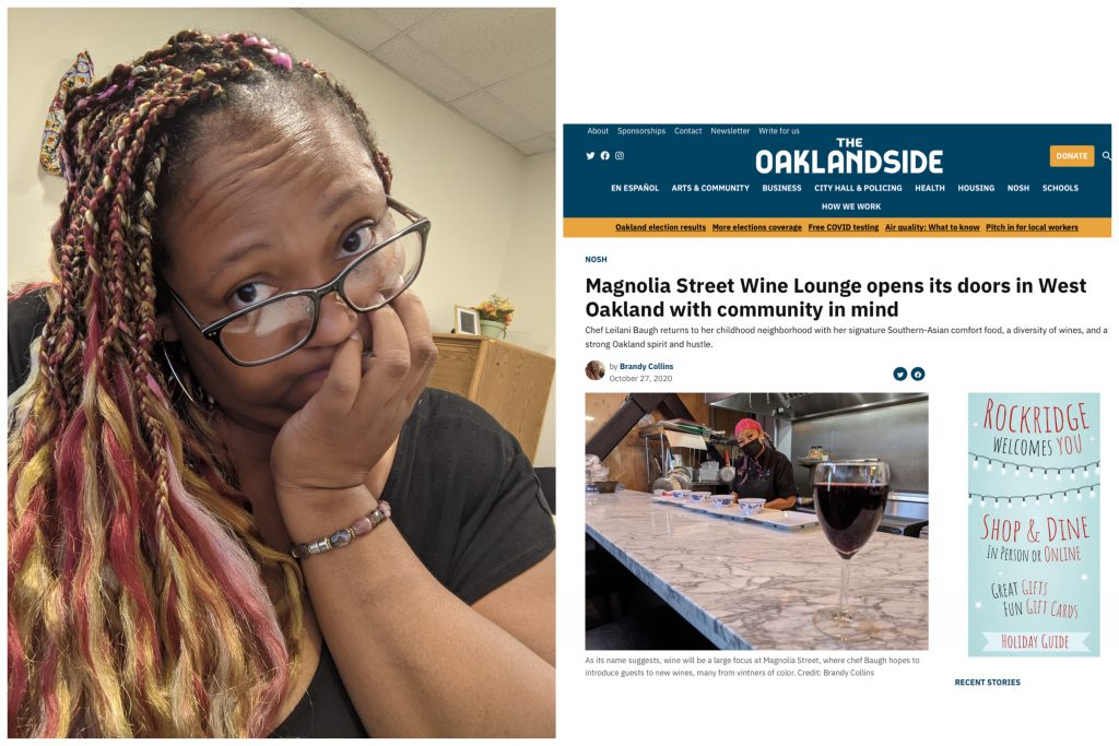 An image of a woman wearing glasses and with braids, next to a screenshot of an article from The Oaklandside she wrote.