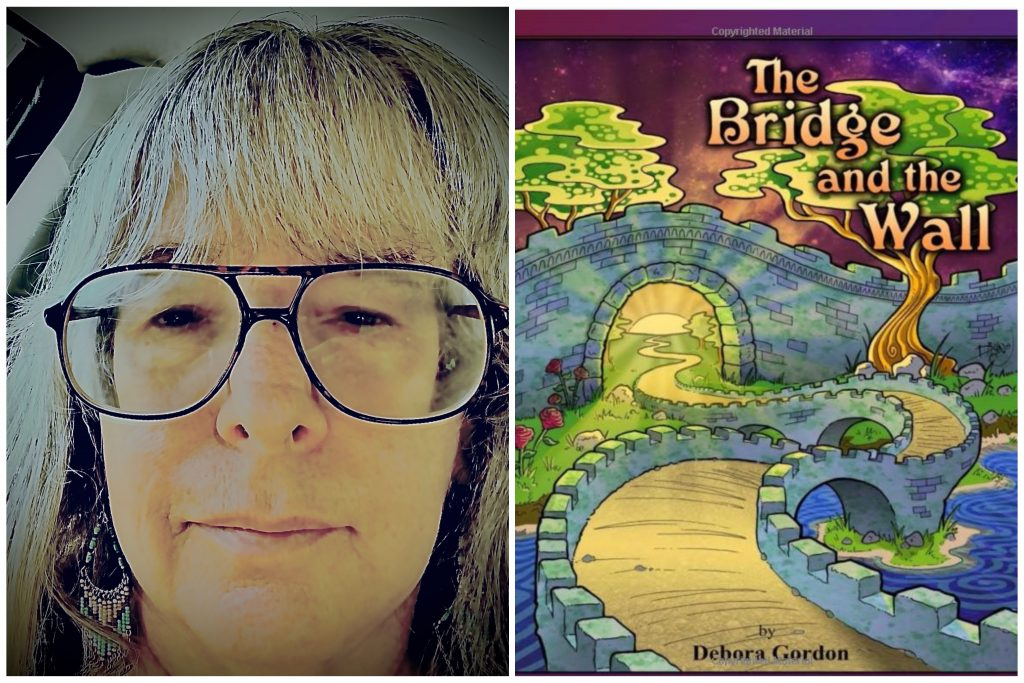 An image of a woman with grey hair and with glasses, next to a colorful image of a children's book cover.