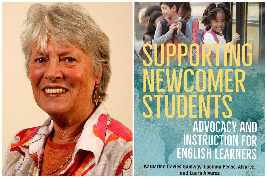 """A headshot of a woman next to an image of a book cover. The cover says """"Supporting Newcomer Students."""""""