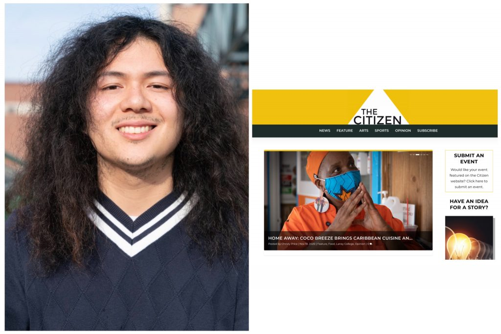An image of a long-haired man next to a screenshot of the website for The Citizen.