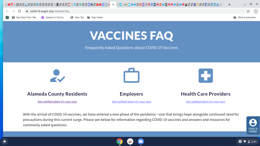 Block on FAQ page to register for email  info on getting Covid 19 vaccine.