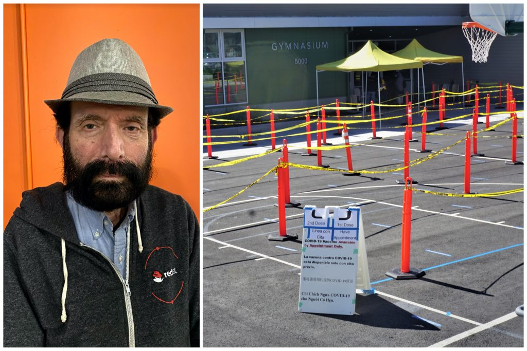 A man with beard wearing a tan hat against bright orange background, next to image of area in front of brand new Fremont High School gym that can accommodate a line for covid vaccines.