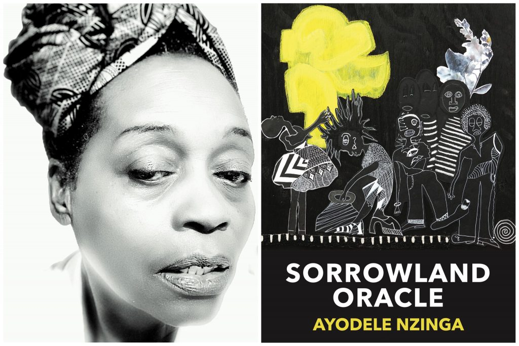 """A split screen of a black and white photo of a an African American woman wearing a head wrap, and next to it, a book cover that is yellow and black titled """"SorrowLand Oracle"""""""