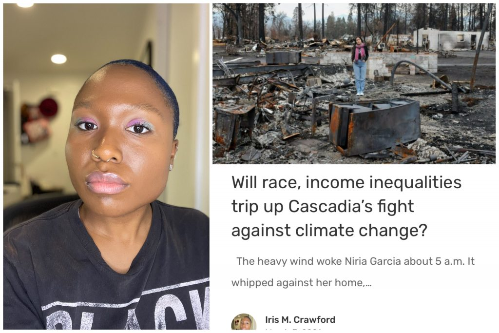 """A young African American woman with short hair and the second photo is an image of an article """"Will Race, Income Inequalities Trip Up Cascadia's Fight Against Climate Change?"""""""