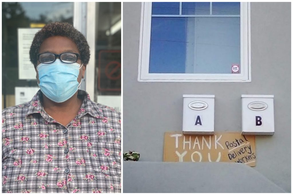 """An African American woman with short brown hair wearing blue surgical mask stands outside; second photo is a cardboard sign in front of house that says """"thank you to our postal workers"""""""