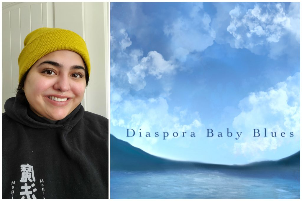 """A young Guatemalan American woman smiles for camera wearing a yellowfins beanie; next to her is an image of baby blue cloudy skies with words """"Diaspora Baby Blues"""" in small font."""