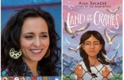 "A Chicana woman with dark brown hair smiles. On the right, an illustrated image of a young brown girl in braids, with a wire fence in front of her and ""Land of the Cranes"" as the title in white font"
