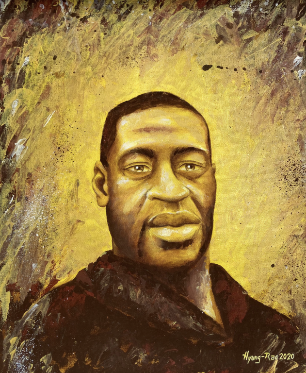 A hand drawn, intricate image of George Floyd against a gold background