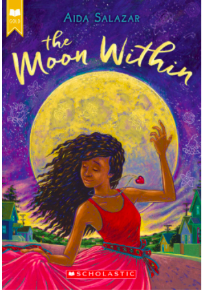 A beautiful book cover with dark purple skies and bright yellow moon, and a brown-skinned girl with flowy hair dancing in front of the moon