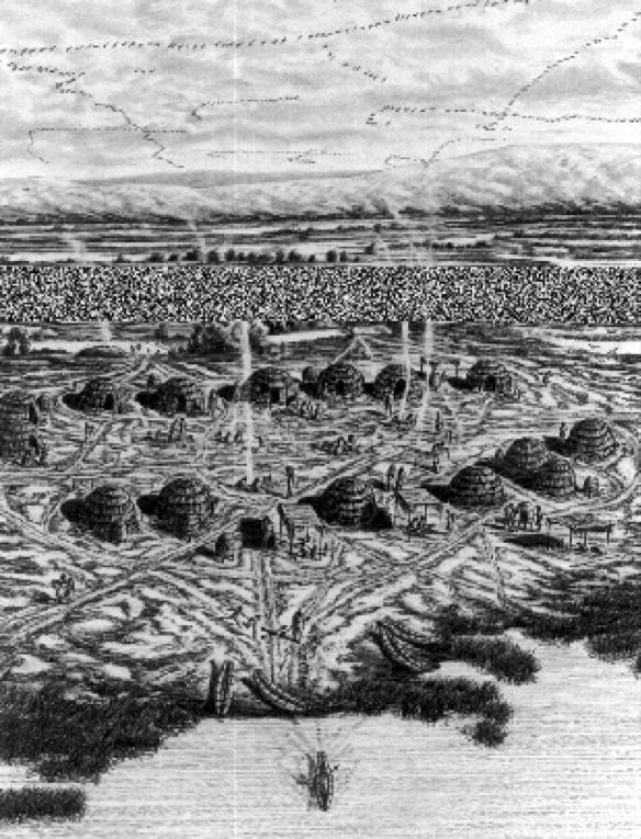 black and white illustration of Ohlone village