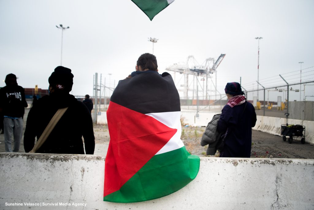A Palestinian flag with red, green, and white triangles is wrapped around a person's back, with the Port of Oakland's cranes in the background