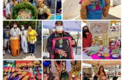 a collage of colorful vendors at the Indigenous Red Market, and some performers as well.