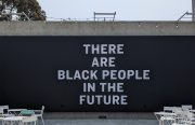 """""""There Are Black People in the Future."""" A part of Oakland Museum of CA's """"Mothership: Voyage Into Afrofuturism"""" exhibit. Photo by Brandy Collins."""