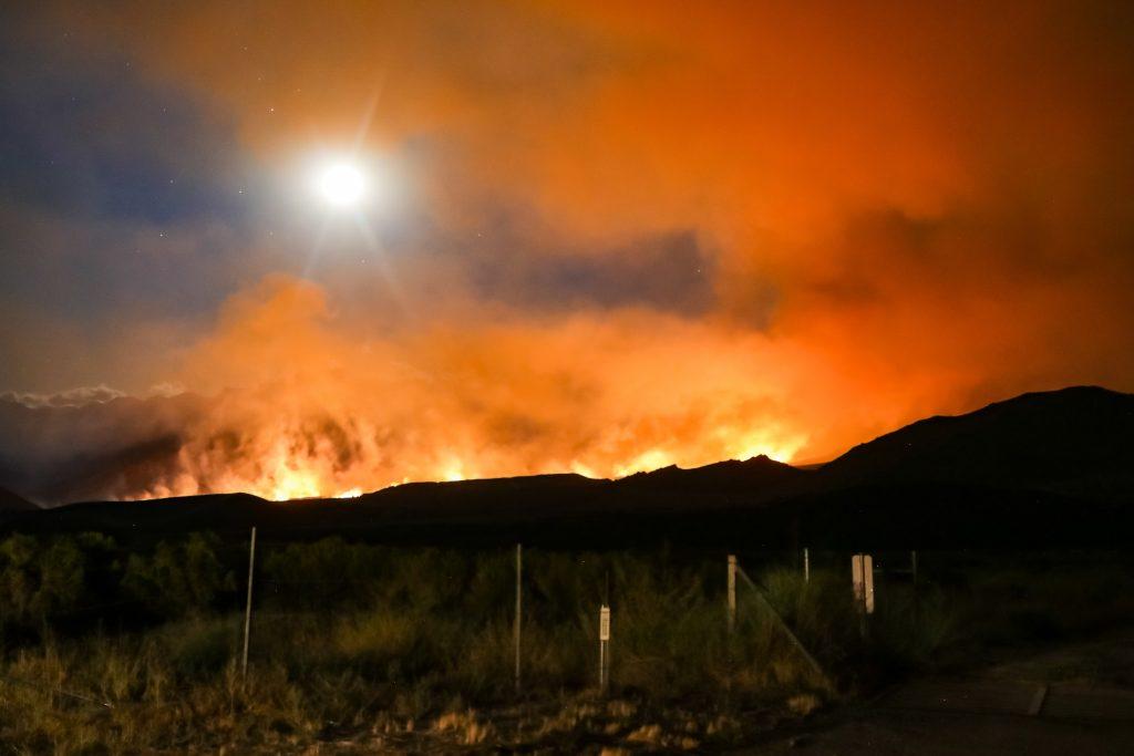 Bright orange sky lit by California wildfire